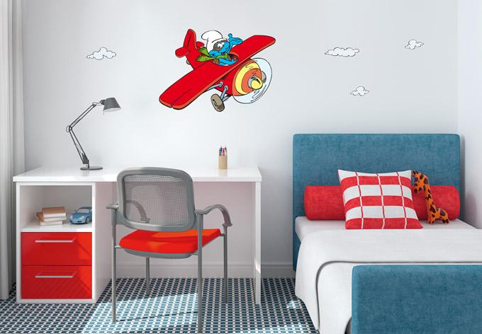 aeroplane the smurfs wall sticker wall art com vintage plane wall decal