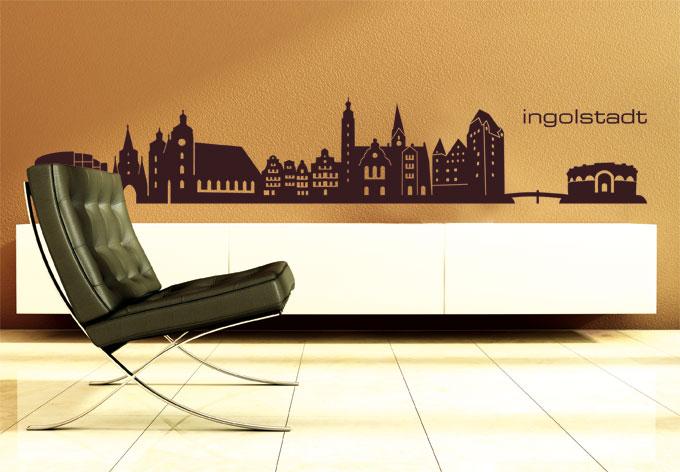 ingolstadt skyline als wandtattoo dekoration von wall art wall. Black Bedroom Furniture Sets. Home Design Ideas
