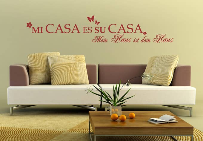 mi casa es su casa wall. Black Bedroom Furniture Sets. Home Design Ideas