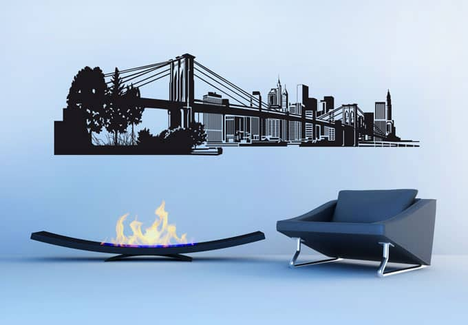 wandtattoo new york skyline als deko einfach aufkleben. Black Bedroom Furniture Sets. Home Design Ideas