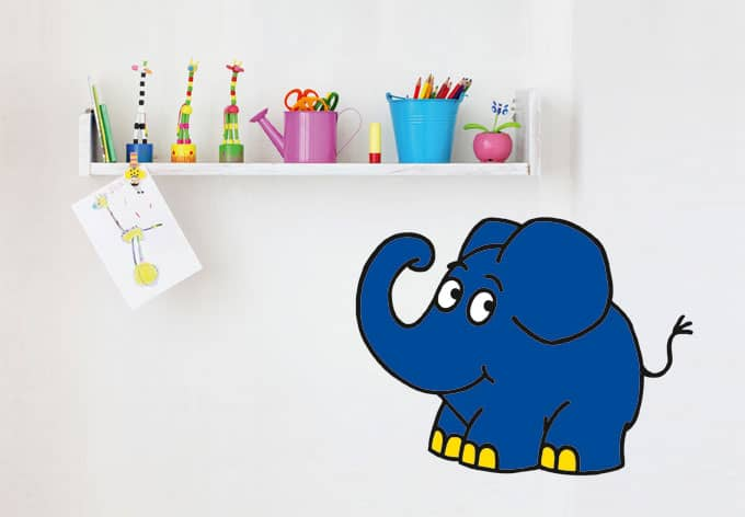 wandtattoo elefant 03 der blaue elefant als wandtattoo bringt abwechslung ins kinderzimmer. Black Bedroom Furniture Sets. Home Design Ideas
