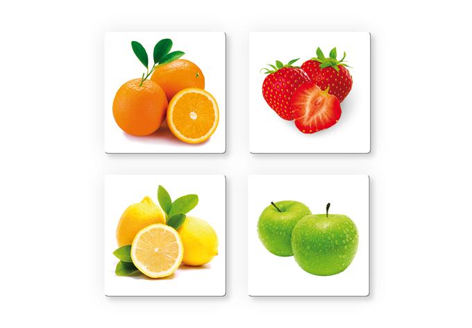 Obstset mit 4 Wandbildern - Küchendeko mit Obst | wall-art.de