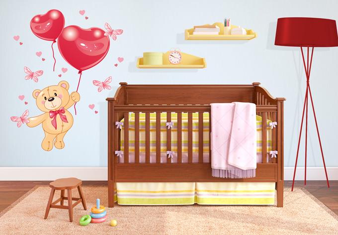 wandtattoo b rchen mit luftballon sch ne deko f r das kinderzimmer wall. Black Bedroom Furniture Sets. Home Design Ideas