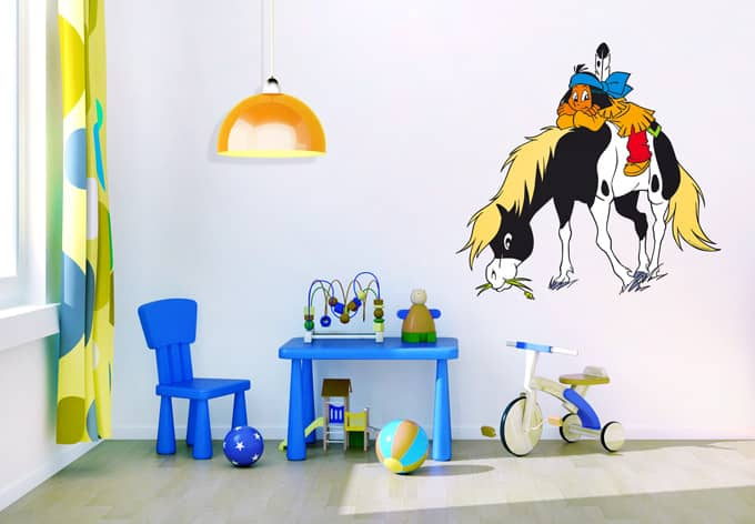 Kinderzimmer Vorhänge Mit Stern  Wandtattoo Yakari mit Kleiner
