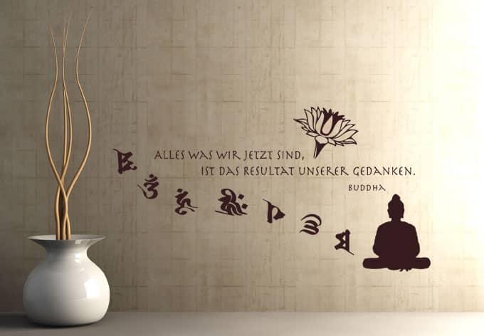 Wandtattoo Zitat von Buddha - Alles was wir jetzt sind ist ...