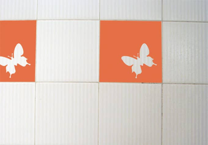Decorative Wall Tile Stickers : Tile decor butterfly wall sticker art