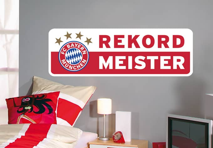 rekordmeister bayern m nchen wandtattoo fcb wall. Black Bedroom Furniture Sets. Home Design Ideas