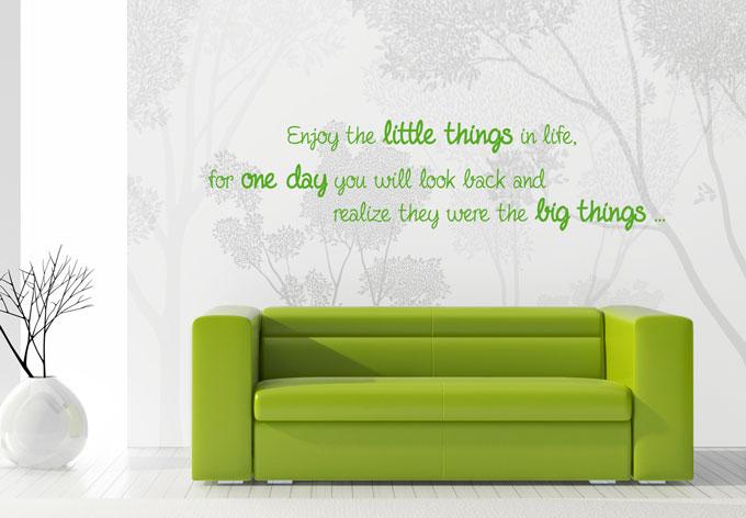 wandtattoo enjoy the little things von k l wall art wall. Black Bedroom Furniture Sets. Home Design Ideas