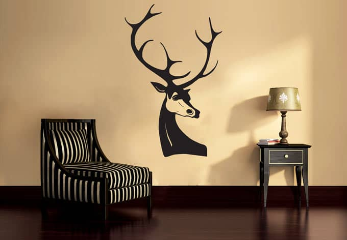 wandtattoo hirsch dekorativer wandsticker mit hirschgeweih wall. Black Bedroom Furniture Sets. Home Design Ideas