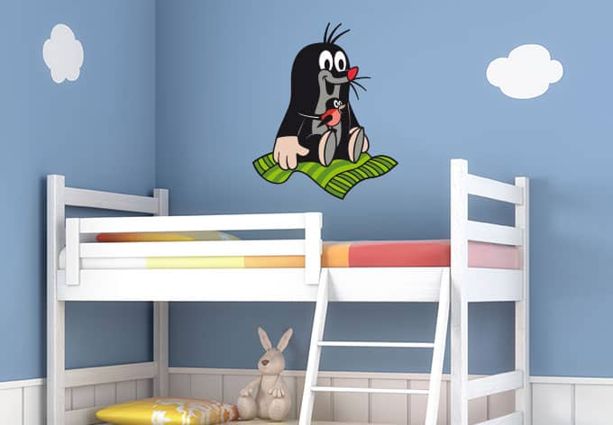 wandtattoo maulwurf fliegender teppich sch ne kinderzimmerdeko wall. Black Bedroom Furniture Sets. Home Design Ideas
