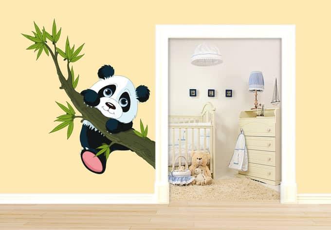 wandtattoo kletternder panda lustiges motiv f r das kinderzimmer wall. Black Bedroom Furniture Sets. Home Design Ideas
