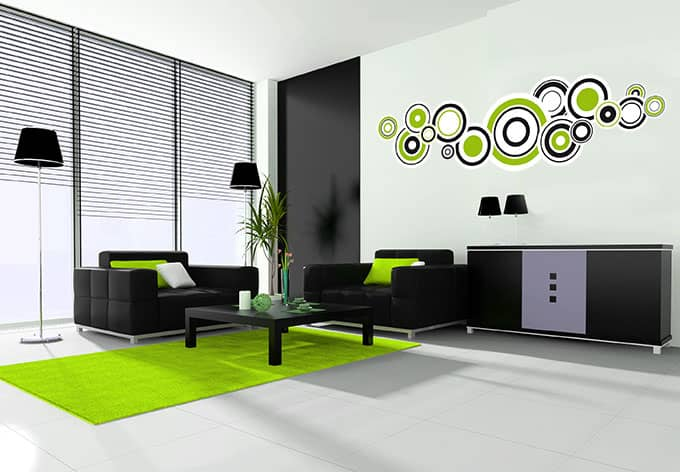 wandtattoo retro bubbles gr n cooles design f r ihre w nde wall. Black Bedroom Furniture Sets. Home Design Ideas