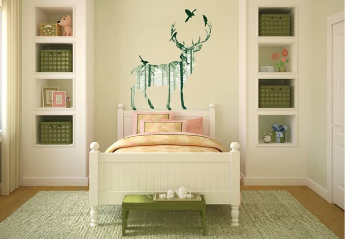 wandtattoo hirsch silhouette gr n. Black Bedroom Furniture Sets. Home Design Ideas