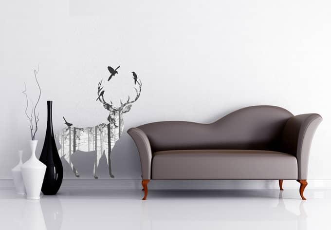 wandtattoo hirsch silhouette grau waldfeeling f r. Black Bedroom Furniture Sets. Home Design Ideas