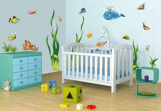 wandtattoo unterwasserwelt aufkleber f r kinderzimmer mit fischen wall. Black Bedroom Furniture Sets. Home Design Ideas