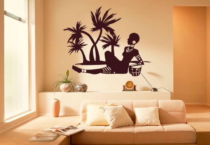 wandtattoo african beach der wandsticker mit afrikanischen palmenstrand wall. Black Bedroom Furniture Sets. Home Design Ideas