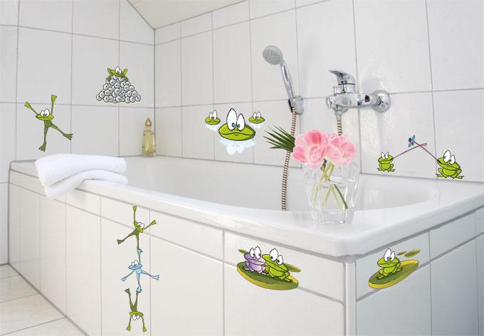 aufkleber frosch set dekoration f rs bad wall. Black Bedroom Furniture Sets. Home Design Ideas