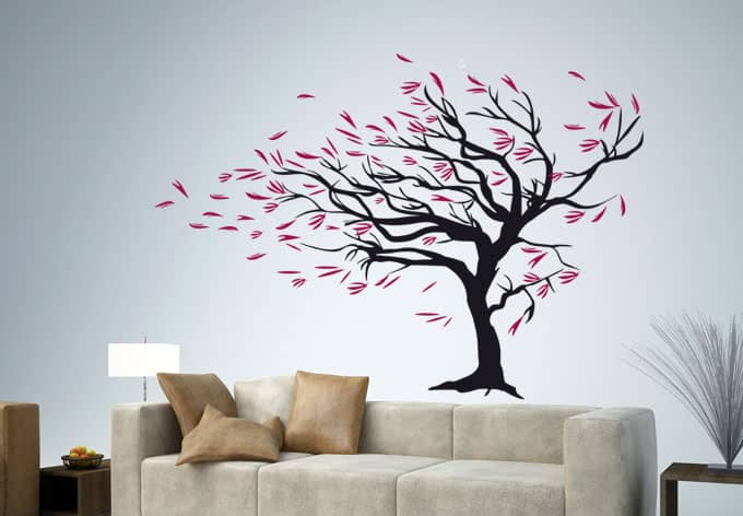 sticker mural arbre automnal wall. Black Bedroom Furniture Sets. Home Design Ideas