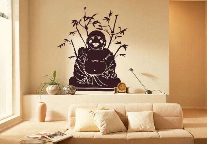 Buddha bamboo wall sticker wall for Buddha wall mural
