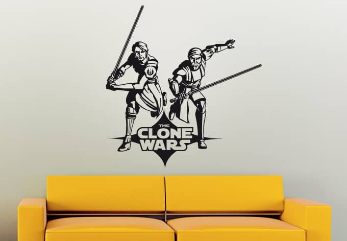 wandtattoo star wars clone wars anakin und obi wan als. Black Bedroom Furniture Sets. Home Design Ideas
