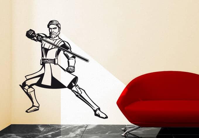 wandtattoo star wars clone wars clone wars obi wan kenobi black als offizielles lizenzprodukt. Black Bedroom Furniture Sets. Home Design Ideas