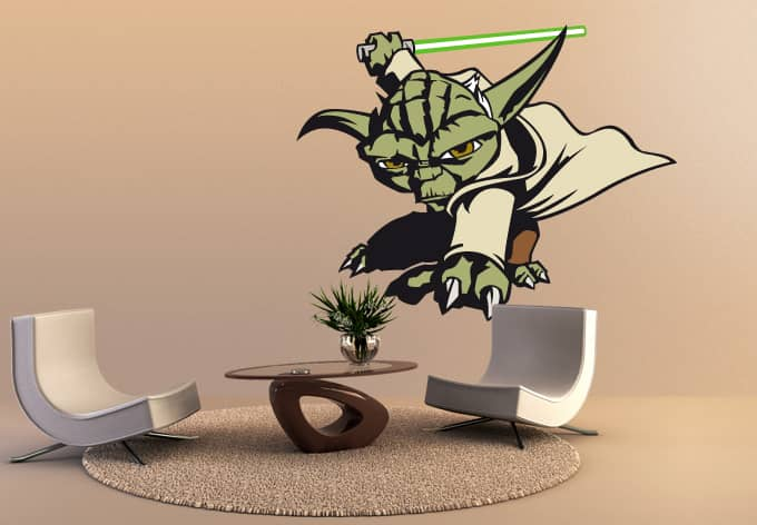 wandtattoo star wars clone wars clone wars yoda als. Black Bedroom Furniture Sets. Home Design Ideas