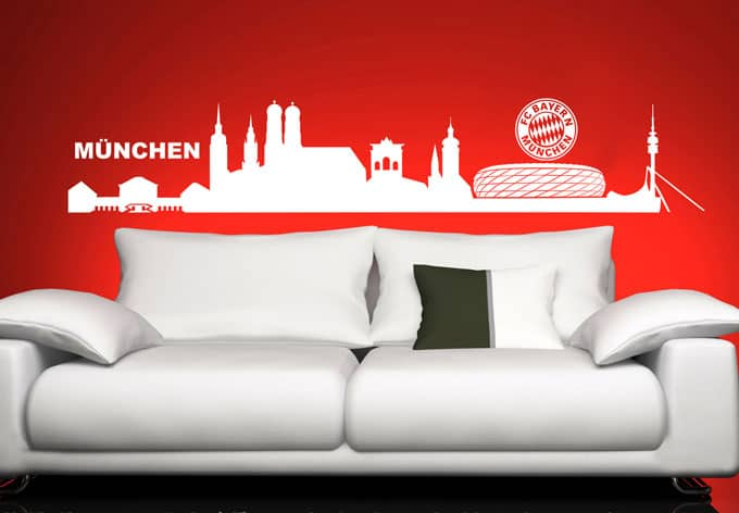 fc bayern m nchen skyline originale fcb wandtattoos. Black Bedroom Furniture Sets. Home Design Ideas