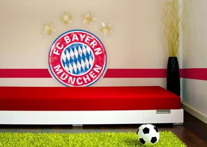 fc bayern m nchen logo used look originale fcb wandsticker wall. Black Bedroom Furniture Sets. Home Design Ideas