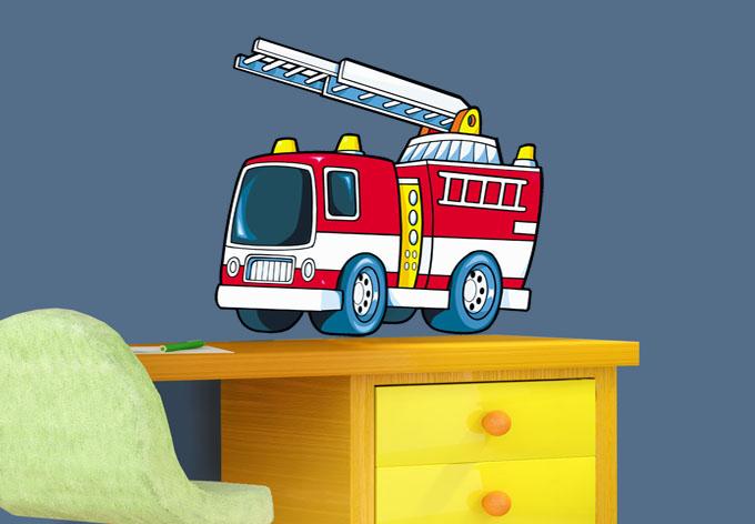 fire truck wall sticker wall art com firemen brigade wall stickers acte deco