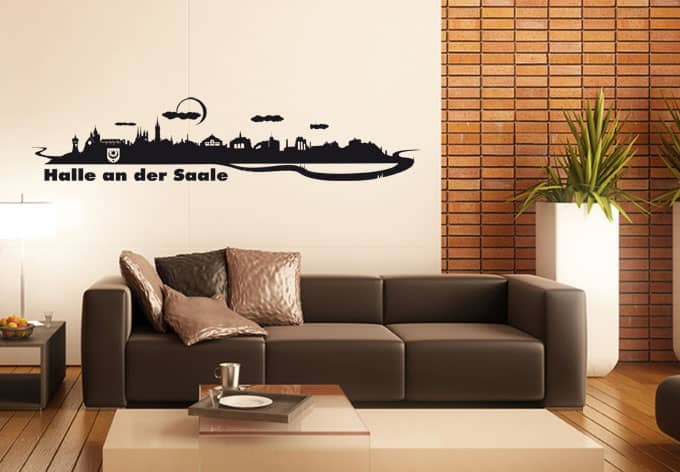 wandtattoo halle an der saale die skyline der h ndelstadt wall. Black Bedroom Furniture Sets. Home Design Ideas