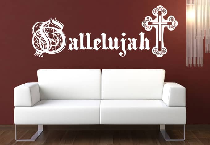 wandtattoo hallelujah christliche dekoration wall. Black Bedroom Furniture Sets. Home Design Ideas