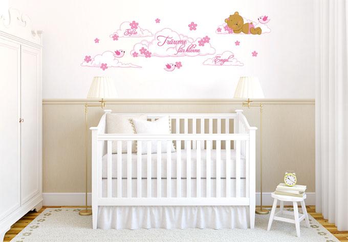 deko f r m dchenzimmer b rchen auf wolken wall. Black Bedroom Furniture Sets. Home Design Ideas