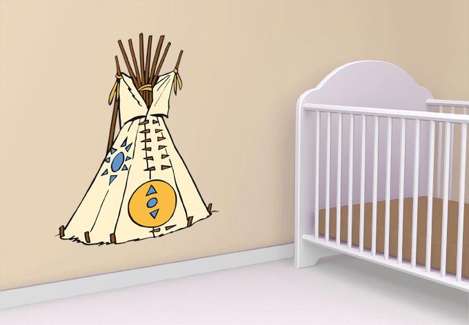 wandtattoo yakari tipi indianer deko f r kinder wall. Black Bedroom Furniture Sets. Home Design Ideas