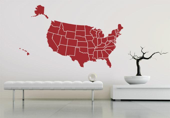 Wandtattoo USA Karte