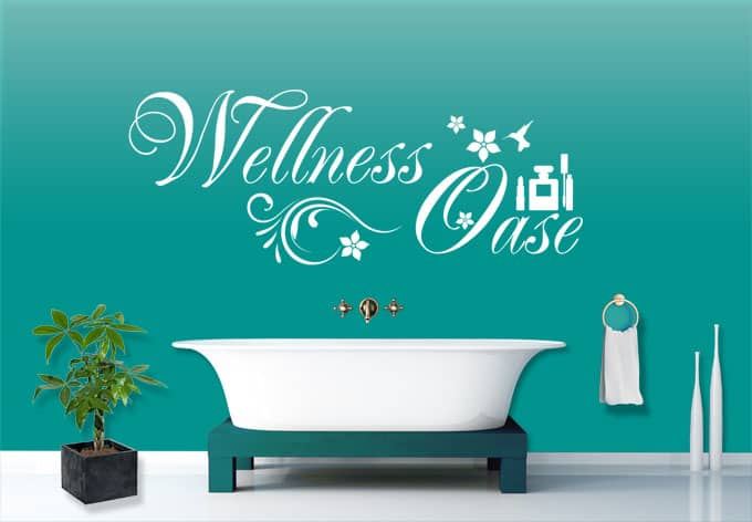 wandtattoo wellness oase wandtattoos f r badezimmer wall. Black Bedroom Furniture Sets. Home Design Ideas