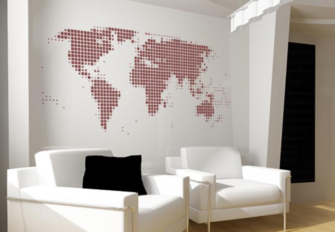 wandtattoo weltkarte abstrakt die abstrakte weltkarte ist ein toller hingucker in ihrem raum. Black Bedroom Furniture Sets. Home Design Ideas