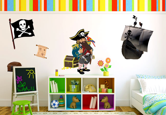 sticker mural set pirates 2 wall. Black Bedroom Furniture Sets. Home Design Ideas