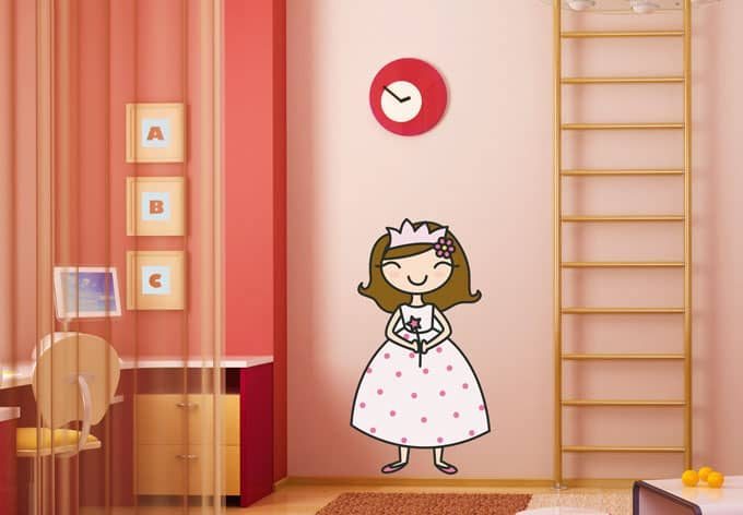 Sticker mural princesse wall for Miroir 90x50