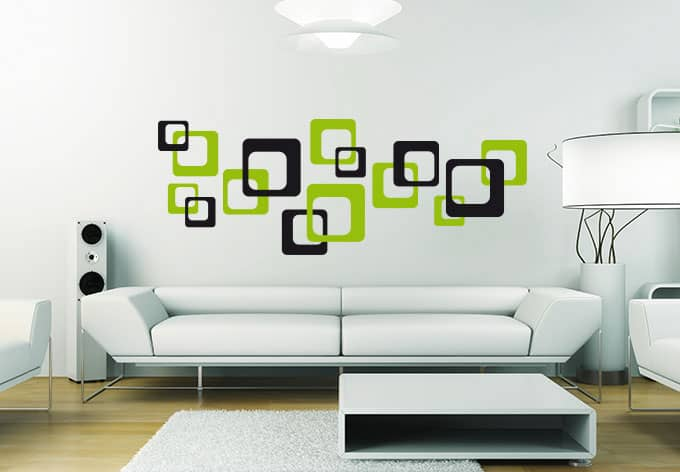 retro cubes green wall sticker wall. Black Bedroom Furniture Sets. Home Design Ideas