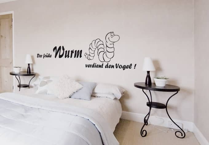 der fr he wurm verdient den vogel lustiges wandtattoo f r k che badezimmer und schlafzimmer. Black Bedroom Furniture Sets. Home Design Ideas