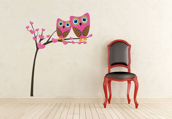 Sticker mural arbre avec chouettes wall for Fenetre 160x100