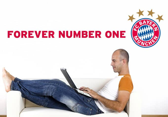 fc bayern forever number one offzielles fcb wandtattoo von k l wall art wall. Black Bedroom Furniture Sets. Home Design Ideas