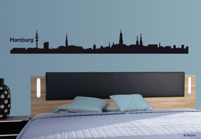 wandtattoo hamburg skyline die wandtattoo skyline mit der hansestadt hamburg an der alster. Black Bedroom Furniture Sets. Home Design Ideas