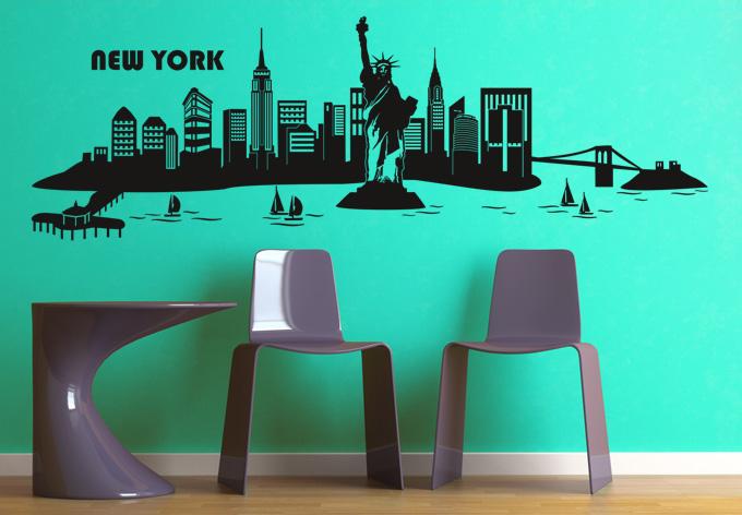 wandtattoo new york skyline 2 die heimliche hauptstadt der usa wall. Black Bedroom Furniture Sets. Home Design Ideas