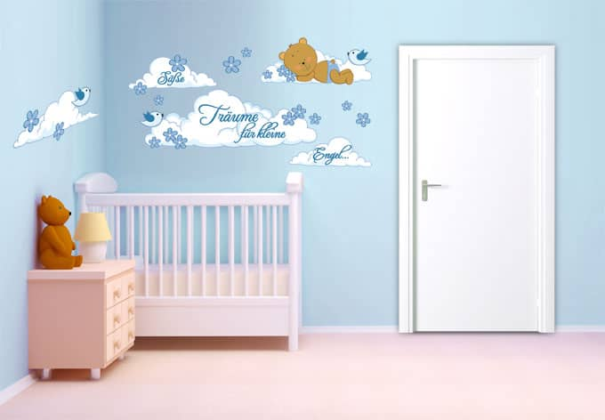 kinderzimmer deko f r jungen teddyb r auf wolken wall. Black Bedroom Furniture Sets. Home Design Ideas