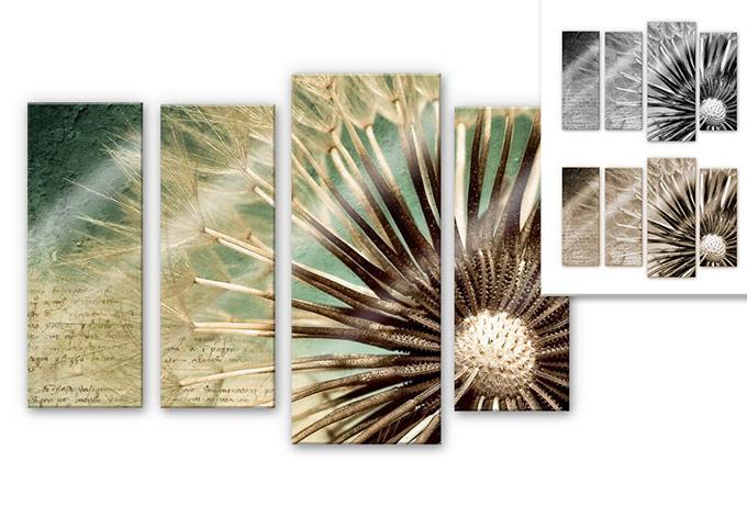 Tableau en verre acrylique pissenlit wall for Tableau en plusieurs parties