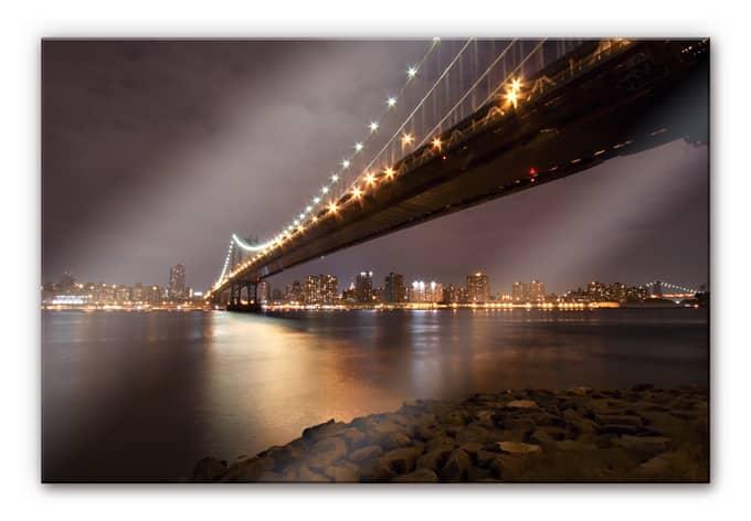 acrylglas wandbild manhattan bridge at night wall. Black Bedroom Furniture Sets. Home Design Ideas