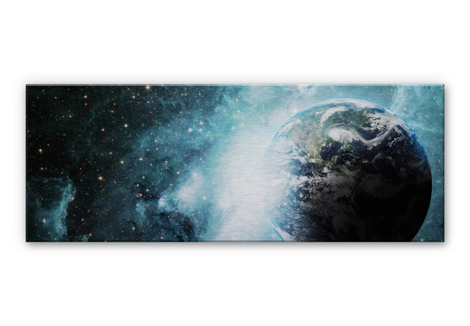 alu dibond panorama silber geb rstet in einer fremden galaxy wall. Black Bedroom Furniture Sets. Home Design Ideas