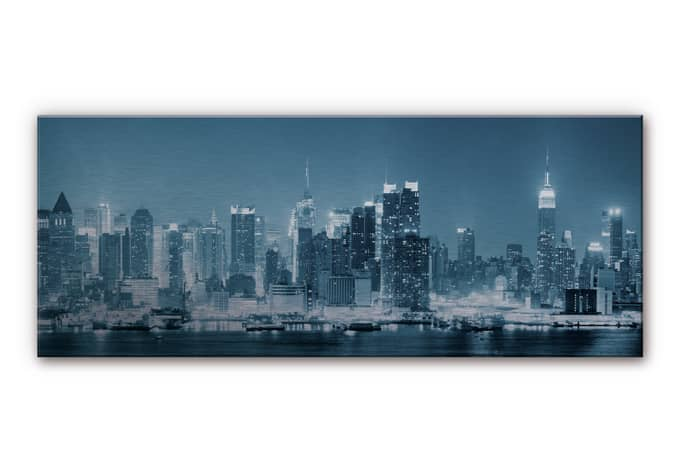 aluminium dibond new york night panorama wall. Black Bedroom Furniture Sets. Home Design Ideas