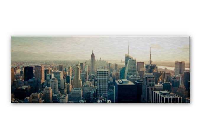 alu dibond wandbild skyline von new york city panorama wall. Black Bedroom Furniture Sets. Home Design Ideas